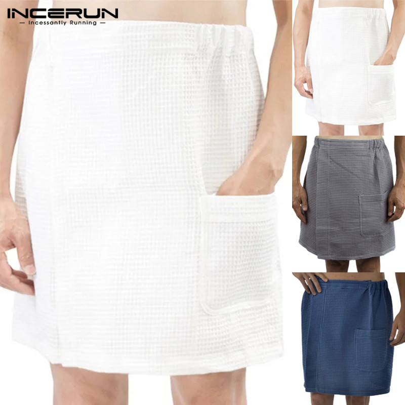 INCERUN Fashion Men Bathrobe Homewear Bath Skirt Solid Color Elastic Waist Cotton Pajamas Comfy Underwear Beach Men Skirts 2020