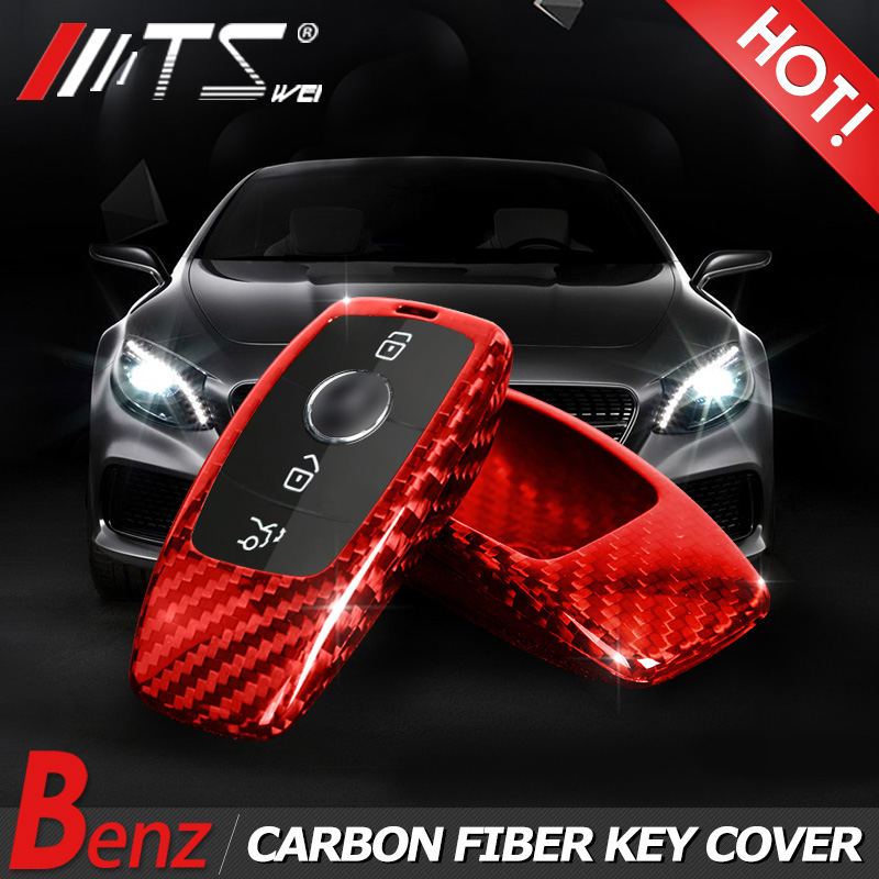 New Genuine Carbon Fiber Car Auto Remote Flip Key Case Cover Shell bag for Mercedes benz 2016-2017 new E class w213 car-styling mercedes w205 key protector