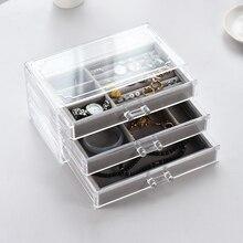 Large Capacity 3 Layers Transparent Acrylic Storage Box Cosmetic Jewelry Drawer Organizer