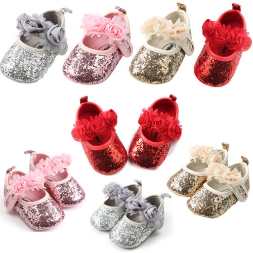 Newborn Baby Girls Sequin Crib Shoes Pram Soft Sole Prewalker Anti-slip Sneakers Baby Girls 0-18M