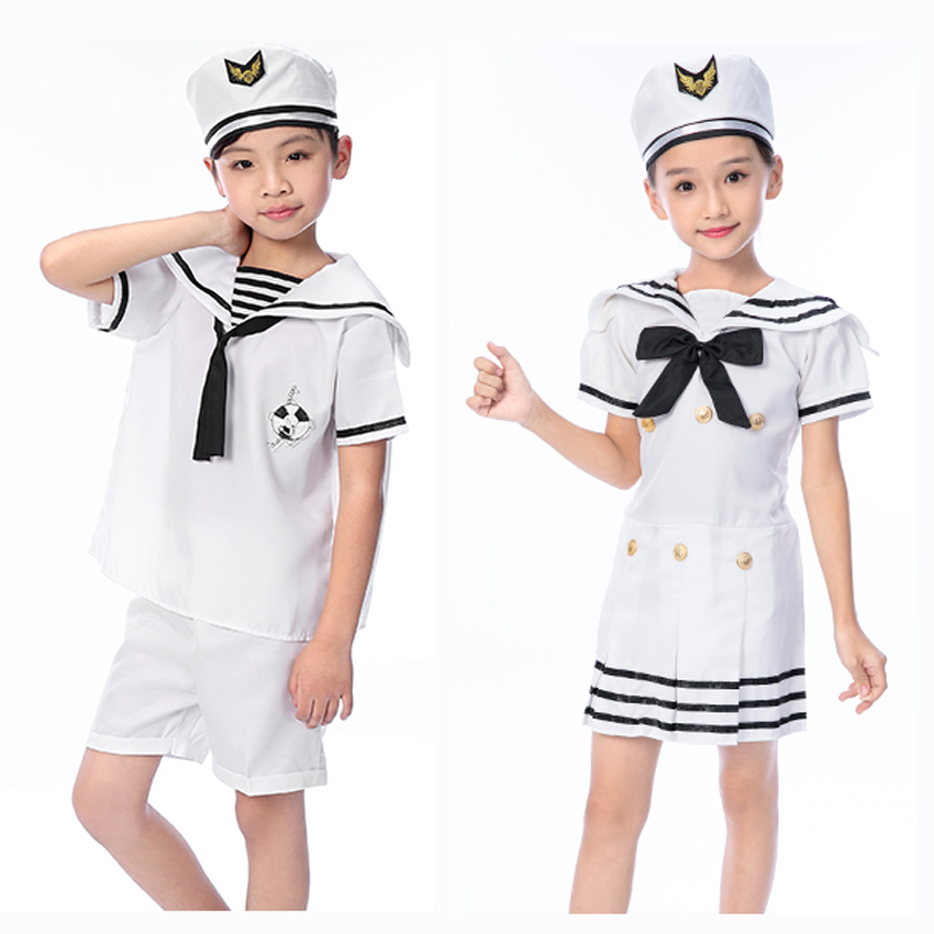 Toddler School Student Uniform Kids Girls Sailor Dress with Bow Children's Day Gift Party Carnival Navy Dance Cosplay Costumes