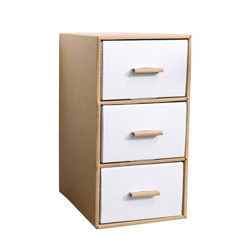 1 pc Storage Box Space-saving Kraft Paper Desktop Drawer Type Multi-deck Document Holder Stationery Container Makeup Organizer drawer