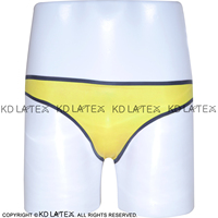 Yellow With Black Trims Sexy Latex Panties Rubber Shorts Underpants Underwear Plus Size DK 0011