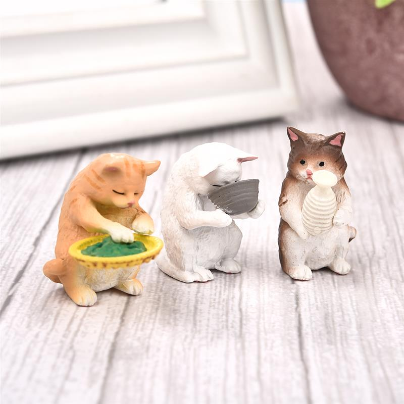Cute Cat Units Fairy Backyard Ornaments Mini Animal Toy Resin Craft Bonsai Decor Miniature Doll House Ornament DIY Equipment Collectible figurines & Miniatures, Low-cost Collectible figurines & Miniatures, Cute...