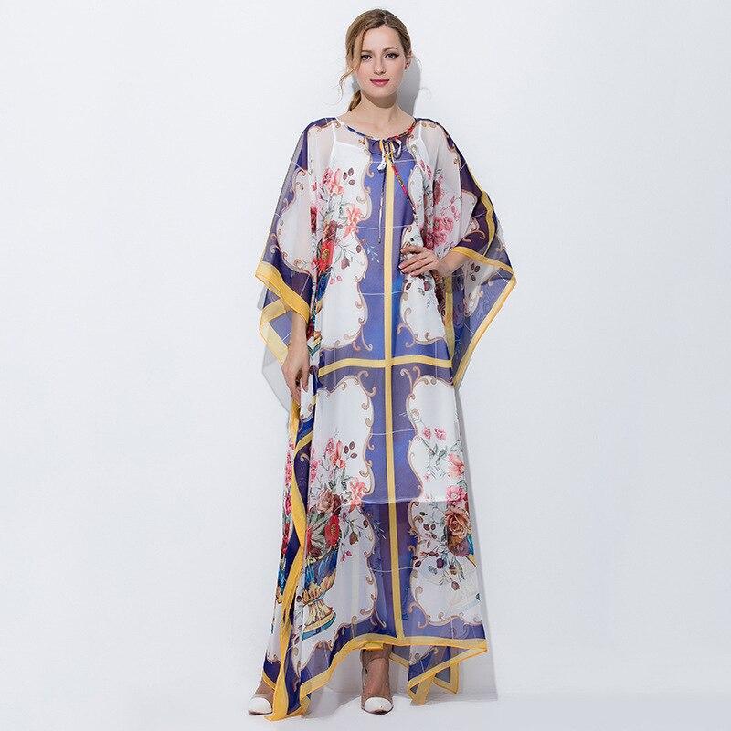 100% шелк Марка взлетно посадочной полосы готический платье Новинка 2018 г. Весна для женщин Свободные Летние печати платье макси high end