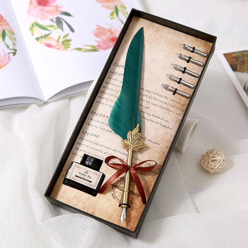Russian English Calligraphy Feather Dip Pen With 5 Nib Writing Ink Set Stationery Gift Box Wedding Gift Quill Pen Fountain Pens