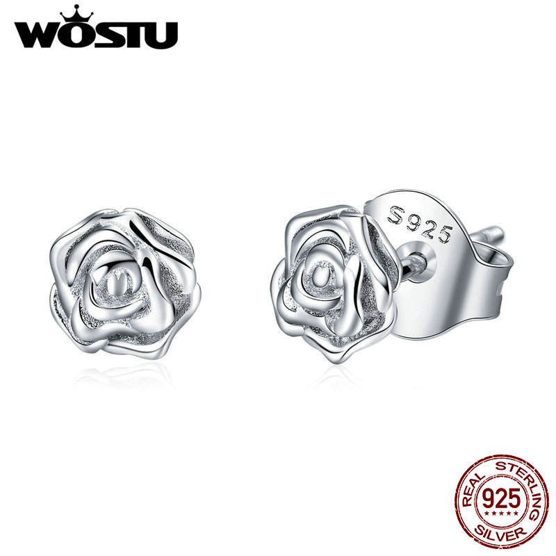 2019 New Design WOSTU Authentic 925 Sterling Silver Alluring Rose Clear CZ Female Stud Earrings For Women Jewelry Gift CTE012