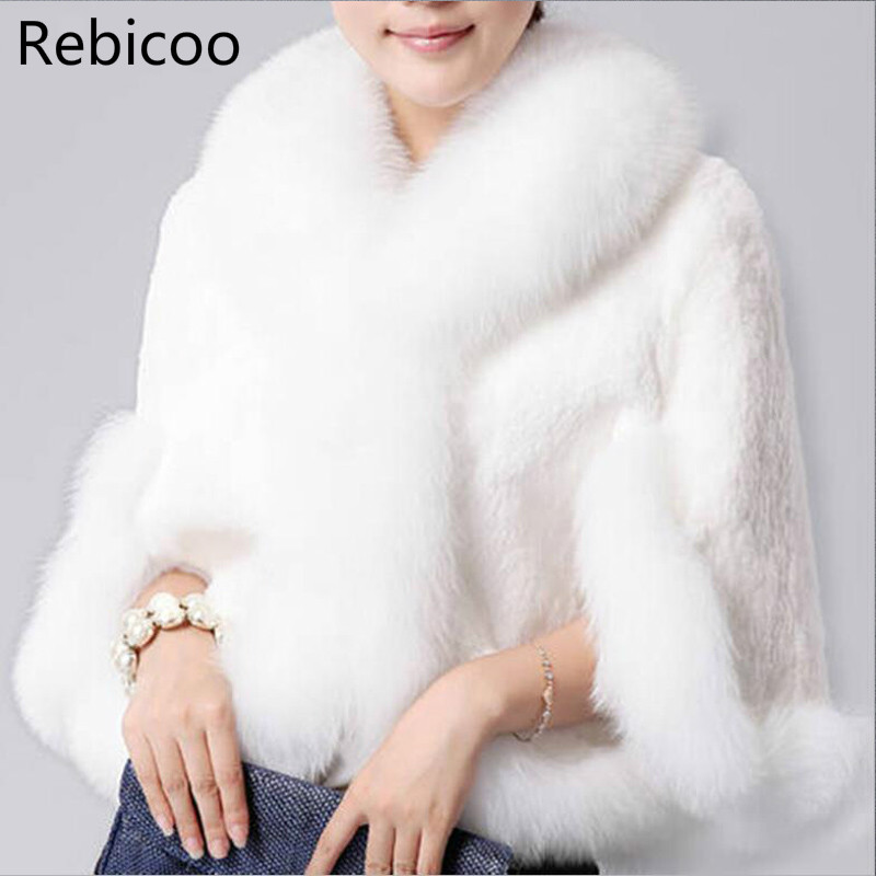 2019 New Fur Faux Coat Mink Hair Rex Rabbit Hair Cape Jacket Black White Fur Overcoat Imitation Rabbit Fur Faux Fox Collar XXXL