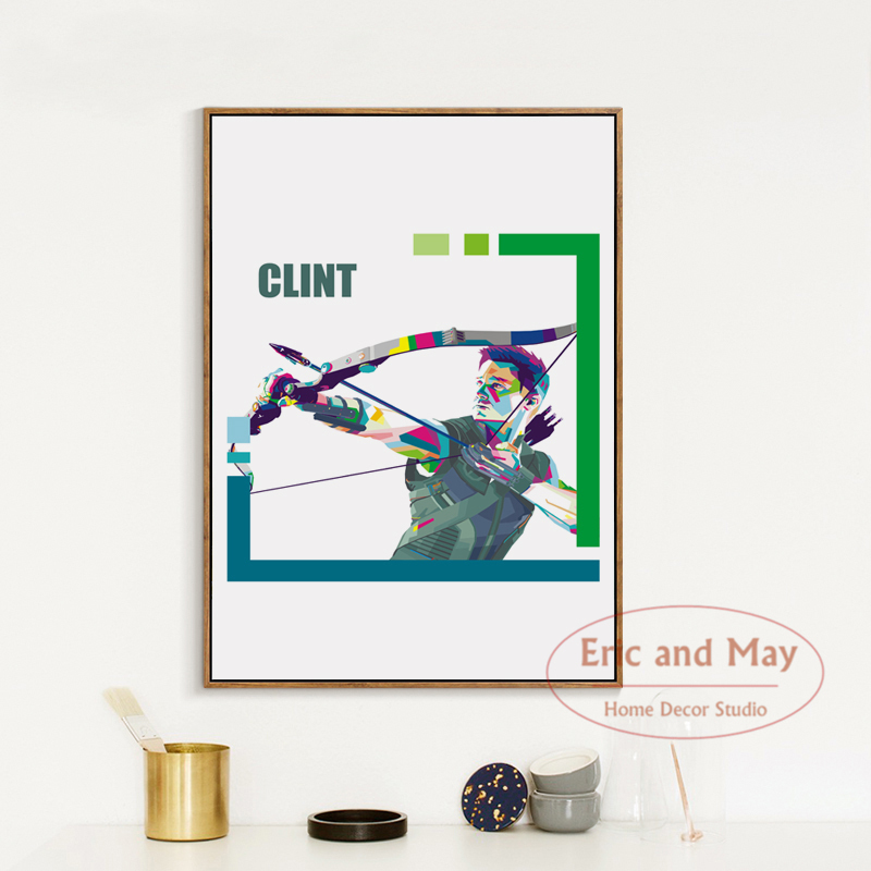 Marvel Animation Movie Super Hero Clint Barton Simple Art Portrait Canvas Painting Print Poster Picture Wall Decor in Painting Calligraphy from Home Garden
