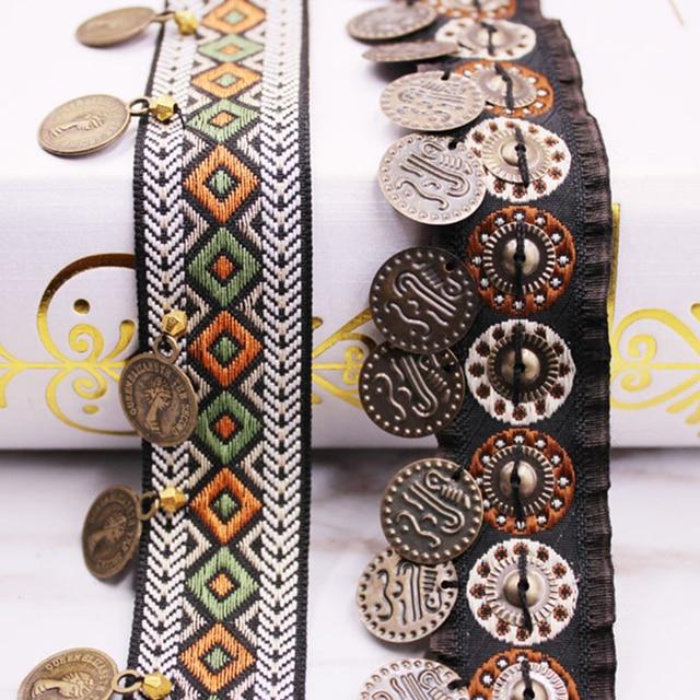 Кружевная отделка из полиэстера в этническом стиле, с медным декором, винтажная ткань, лента, шитье, поделки, аксессуар, украшение 20/25 мм, 0,9 м, 1 шт.