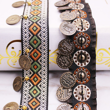 Ethnic Polyester Lace Trim With Copper Decoration Vintage Fabric Ribbon Sewing Crafts Accessory Embellishment 20/25 mm 0.9m 1 PC
