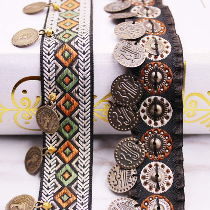 Ethnische Polyester Spitze Trim Mit Kupfer Dekoration Vintage Stoff Band Nähen Handwerk Zubehör Verschönerung 20/25mm 0,9 m 1 PC
