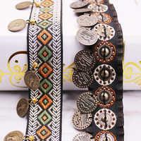 Guarnição étnica do laço do poliéster com decoração de cobre fita da tela do vintage costura artesanato acessório embelezamento 20/25mm 0.9m 1 pc