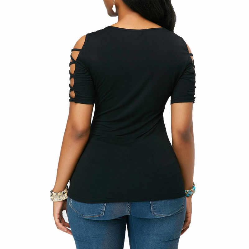 Vrouwen 2019 collectie Slim Fit Bandage Zomer Kant Dauw Schouder Korte Mouw Casual Shirt Tops T-Shirt Uitloper