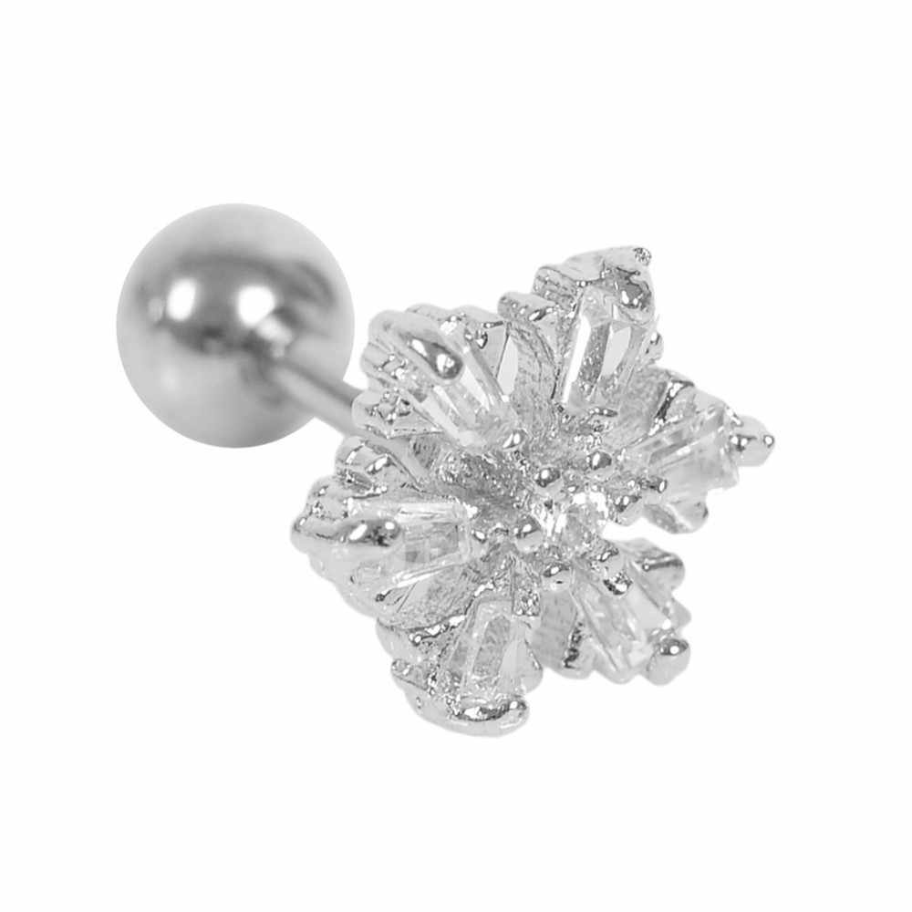 Surgical Titanium Crystal Flower Ear Studs Cartilage Earrings Tragus Helix Piercing 16 Gauges Silver Ear Studs Lip Rings