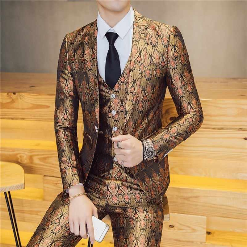 Brand New Slim Fit Casual Terno Masculino 3pcs/2pcs Suit Men Luxury New Pattern Dress Suits One Button Host Stage Tuxedo 3XL-M