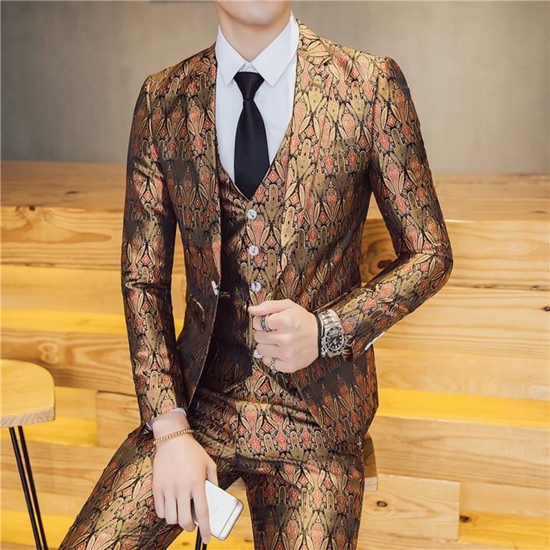 Бренд, новинка, приталенный повседневный костюм Terno Masculino из 3 предметов/2 предмета, мужской роскошный костюм с новым рисунком, костюм на одно