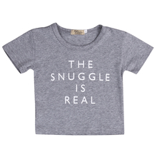Toddler Kids Summer Clothes Baby Boy Girl Short Sleeve T Shirts Tops Tee Fashion Baby T-shirt The Snuggle is Real Print Tee lace panel sleeve girl print tee