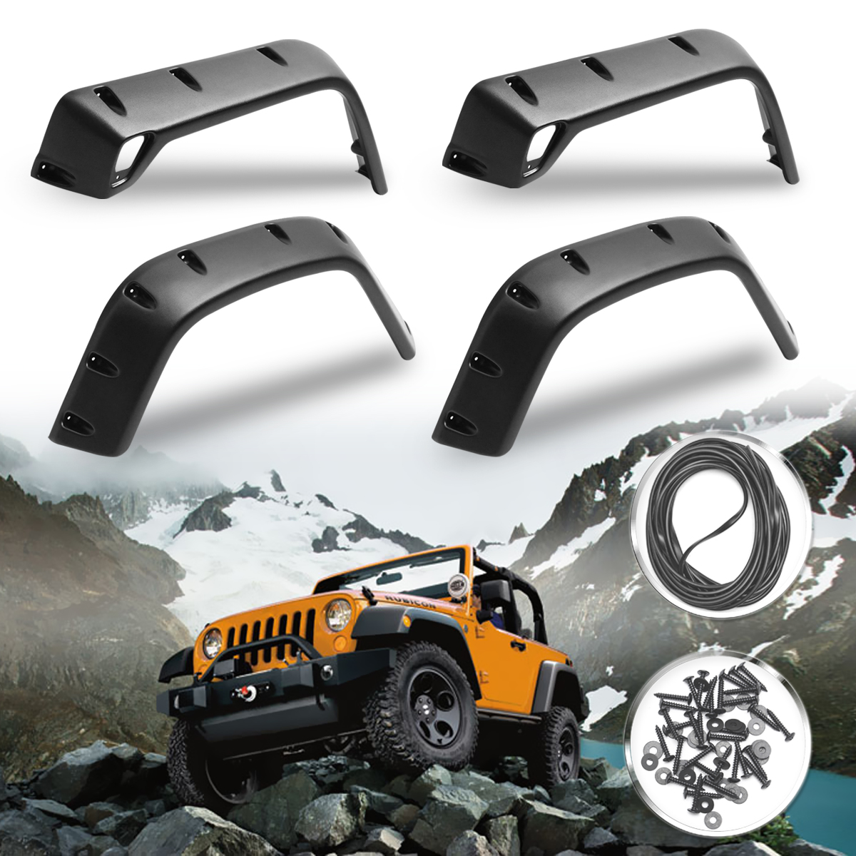 6pcs/Set For Jeep 98-06 For Wrangler TJ 7 Wide Style Protector For Fender Flares6pcs/Set For Jeep 98-06 For Wrangler TJ 7 Wide Style Protector For Fender Flares