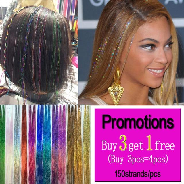 Brillo pelo oropel Bling pelo Secoration para extensión de cabello sintético brillo del arco iris para las niñas y fiesta 100 cm 150 hilos /piezas