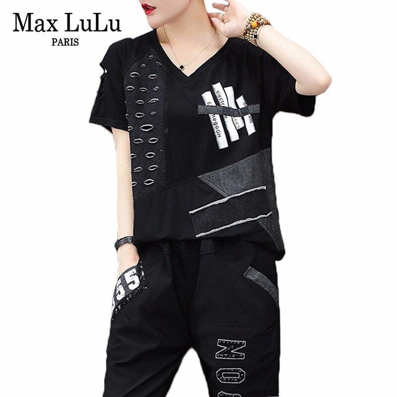 Kadın Giyim'ten Kadın Setleri'de Max LuLu yaz lüks kore eşofman bayanlar 2 adet Set Vintage kıyafetler kadın delik üstler ve pantolonlar büyük boy spor giyim'da  Grup 1