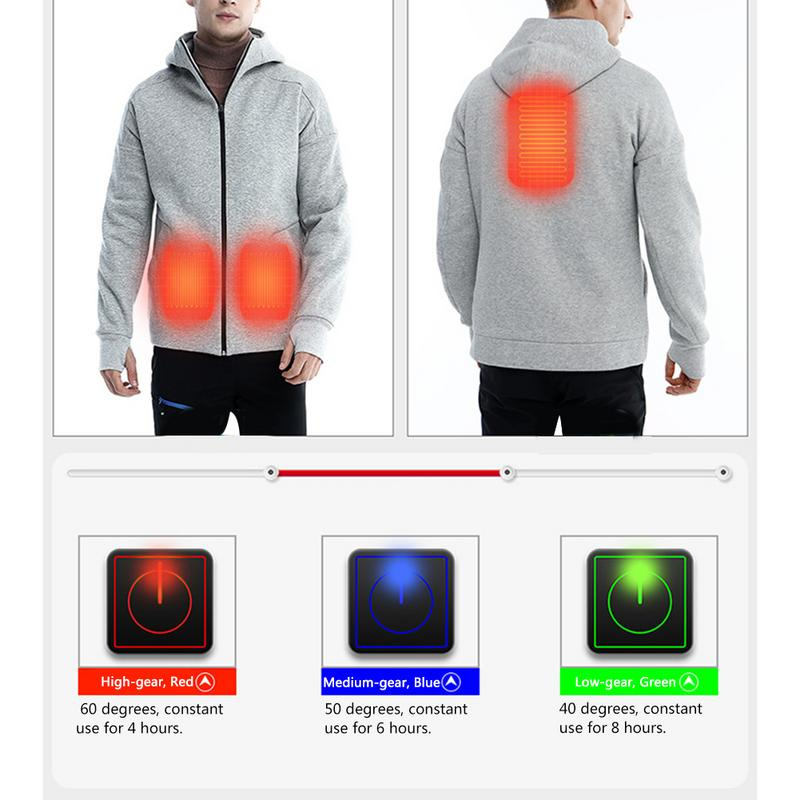 Intelligent Thermostatic Jacket Heated Sweater Male USB Charging Heated Coat Warm Thermostat Electric Jacket Winter Jacket