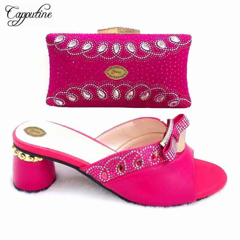 Capputine African Design Rhinestones Pumps Slipper Shoes And Bag Set For Wedding Italian Style High Heels Party Shoes And Purse Capputine African Design Rhinestones Pumps Slipper Shoes And Bag Set For Wedding Italian Style High Heels Party Shoes And Purse