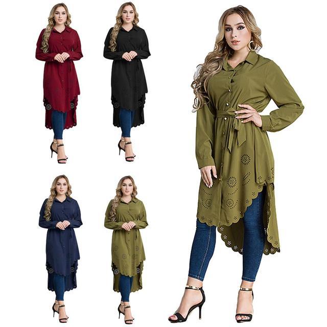 3e90091031648 Fashion Women Lady Muslim Loose T Shirt Top Dress Islam Long Sleeve Bead  Maxi Short Kaftan Abaya Arab Clothes Plus Size Dresses