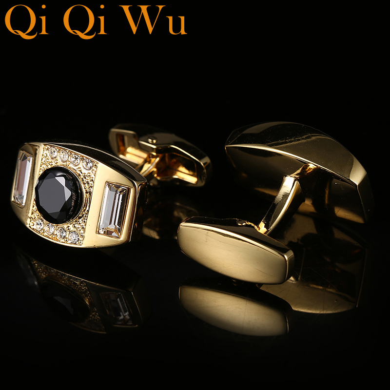 New Fashion Luxury Cuffs Men 39 s French Buttons Business Wedding Black Crystal Cufflinks High Quality Suit Shirt Cuff links Qi Qi in Tie Clips amp Cufflinks from Jewelry amp Accessories