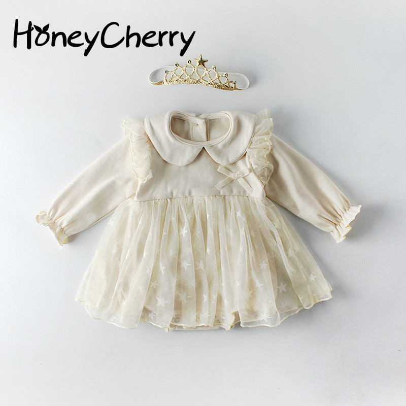 Spring Baby Bodysuits Long Sleeve Star Mesh Pure Cotton Hat-shirt Climbing Garment In 2020 Baby Girl Clothes