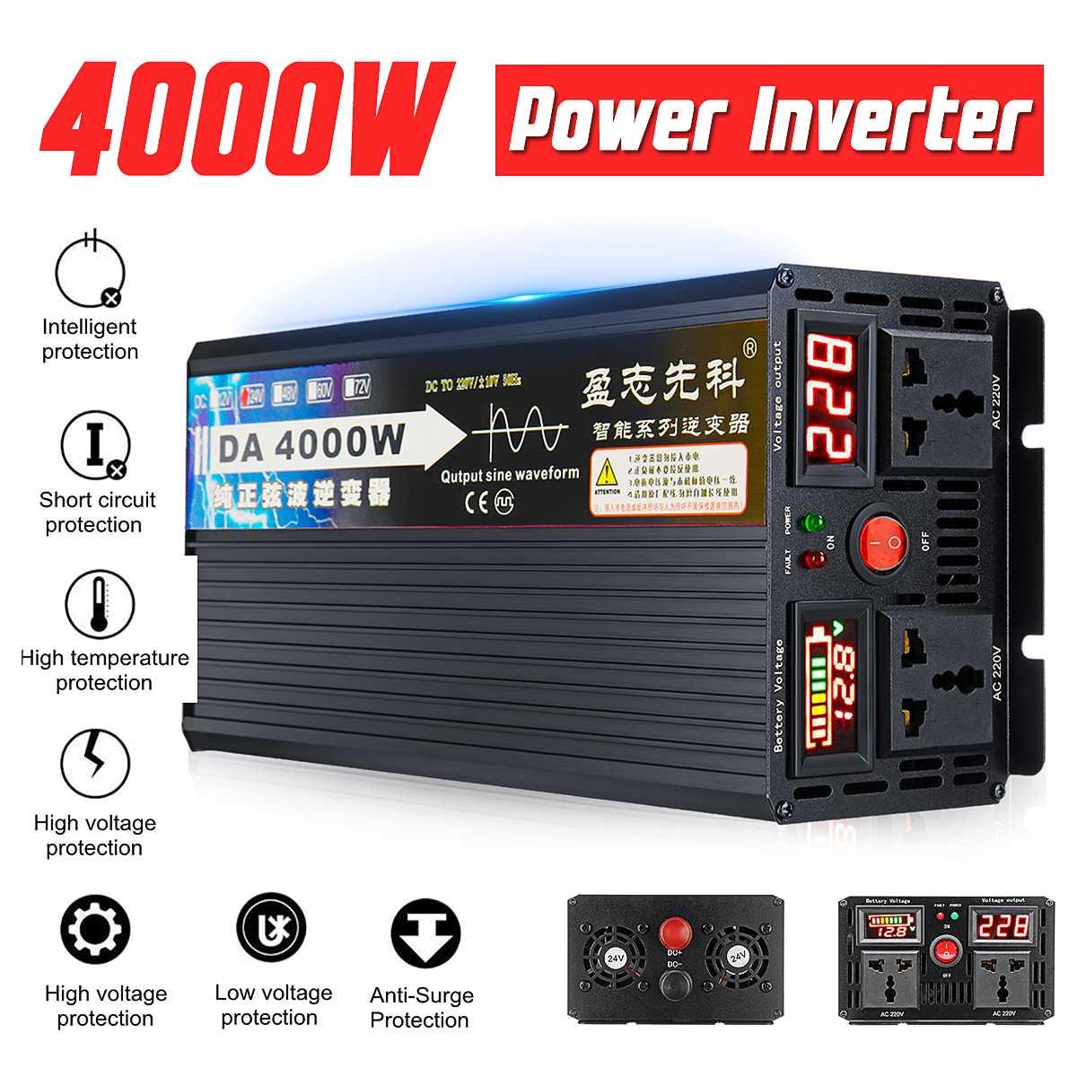 4000W Voltage transformer pure sine wave solar power inverter DC 12V 24V 48V 60V to AC 220V LCD/LED Display4000W Voltage transformer pure sine wave solar power inverter DC 12V 24V 48V 60V to AC 220V LCD/LED Display
