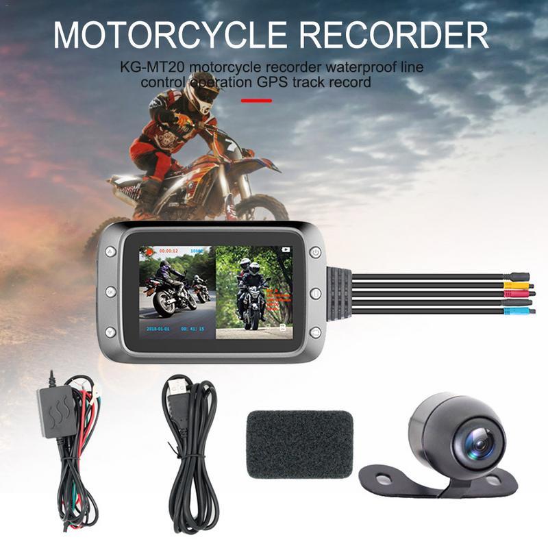 Enregistreur moto avant arrière Double enregistreur écran fendu affichage étanche fil contrôle opération GPS suivi Record 2 caméras