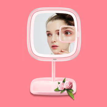Portable LED Lighted Makeup Mirror Vanity Compact Pocket Mirrors Vanity Cosmetic Magnifying Glasses Stepless Dimming Table Lamp