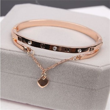 Luxury Bracelets & Bangles Famous Brand Jewelry Rose Gold Stainless Steel Female Heart Forever Love Charm Bracelet For Women 1