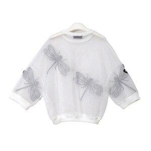 Image 3 - [EAM] 2020 nowa wiosna jesień okrągły dekolt z długim rękawem duży rozmiar Organza ściegu trójwymiarowa koszula kobiety bluzka moda JL958