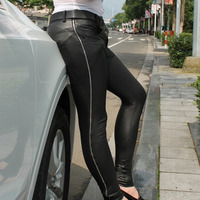 Men Sexy Black PU Leather Pencil Pants Side Long Zipper High Split Trousers Elastic Leg Nightclub Party Punk Style Pants A9080