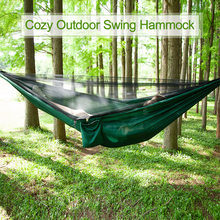 290 x 140cm Outdoor Camping Tent Hammock Swing with Integrated Mosquito Bugs Net Extension Straps Clips Rope with Ground Nails(China)