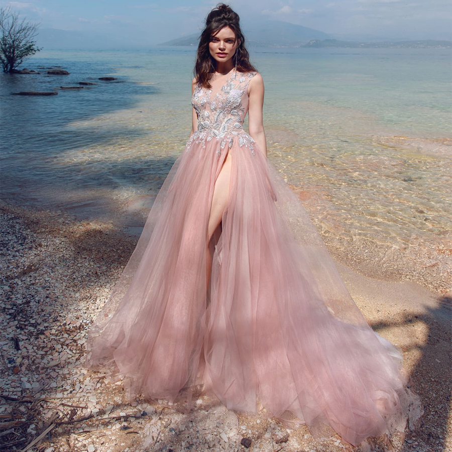 Sexy Evening Dress Boat Neck Beading Applique With Slit Gown 2019 Long Prom Robe De Soiree