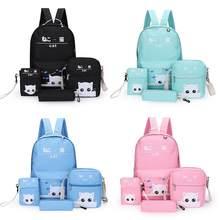 753e3dbbc19f8 4 PCS EIN Set Rucksack Japan Koreanische Mode Cartoon Nette Katze Tasche  Kleine Druck Adrette Student Schule Rucksäcke Für teena.