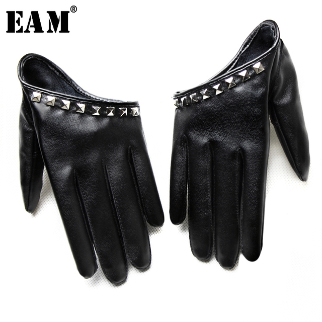 [EAM] 2020 New Spring Summer Colors Print Personality Hip Pop Sunscreen Beading Fashion Tide Accessories Gloves OA993