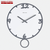 Geekcook 14 Inch large wall clock No Glass Clcoks 3d Chinese ink paint Style clock swing Time Silent Office Study Living Room