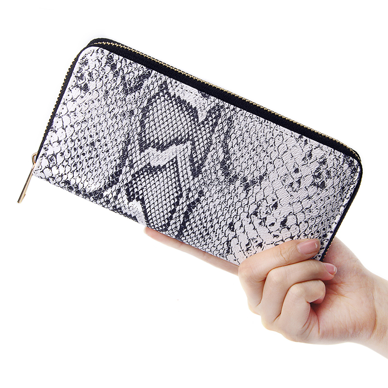 Women Long Clutch Wallet Fashion Snake Pattern Design Zipper Purse Ladies Wallets Serpentine Street Casual Phone Pouch Money Bag
