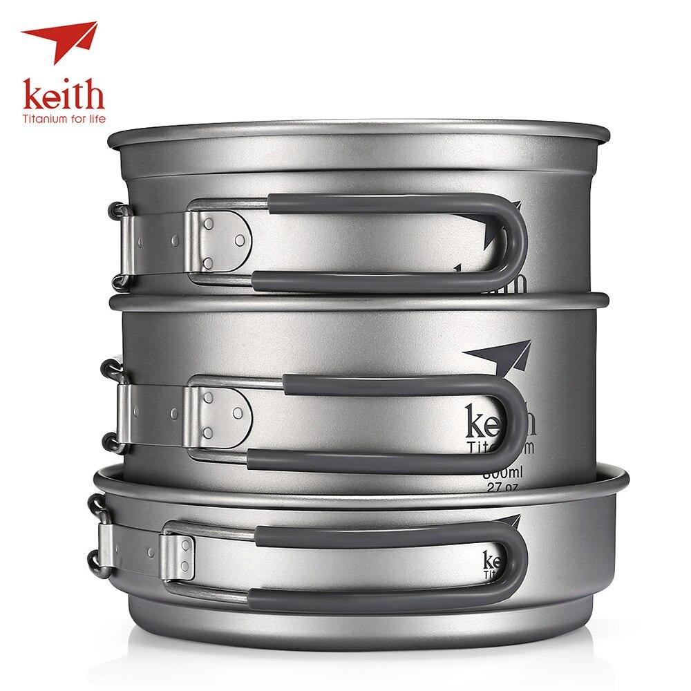 Keith Pur Titane 3 pièces batterie de Cuisine De Camping Portatif Extérieur Bol Pot Pique-Nique Pliant Vaisselle 0.4L Couvercle 1.2L Pot 0.8L Bol