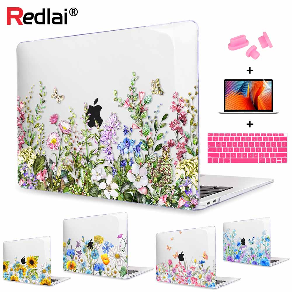 Floral Printing Plastic Hard Case Shell For MacBook Air Pro 15 13 2018 A1932 A1989 A1990 Touch Bar Pro Retina 13 15 Laptop Case