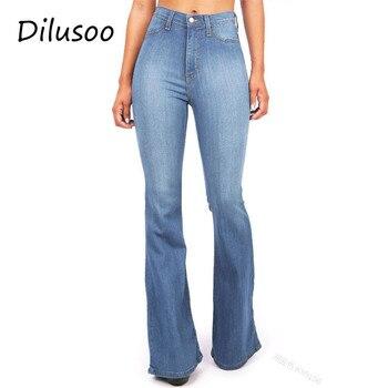 eabb6ad9ce12 Dilusoo mujer Jeans Flare pantalones cintura alta elástico Delgado Denim  lápiz Jeans Europa mujer Casual Oficina señora primavera Flare Pantalones