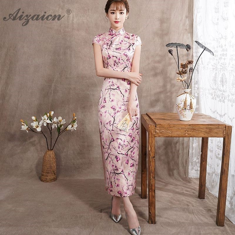 Impression rose moderne Cheongsam soie similaire longue Qipao femmes chinois Robe traditionnelle Style Oriental Vintage col Robe Qi Pao