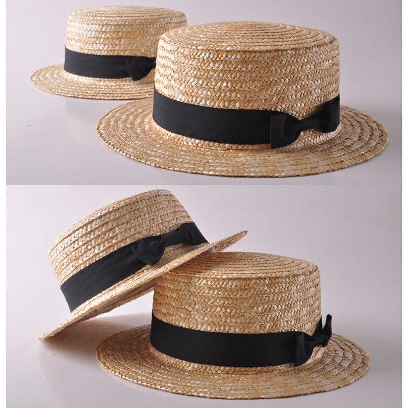 Fashion Women Girls Boho Straw Sun Hat Bow Flat top Wide Brim Beach Cap in Hats Caps from Mother Kids