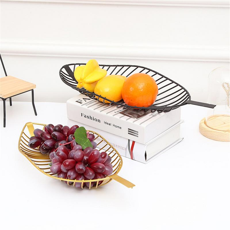 Nordic Iron Tray Leaf Shaped Fruit Baskets Candy Snack Storage Table Decorations