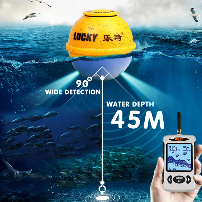 Fortunato Fish Finder Allarme per Kayak Da Pesca Finder Sonar pesce fishingEcho Sonar Fishfinder Wireless Sonar Sensor FFW718LA