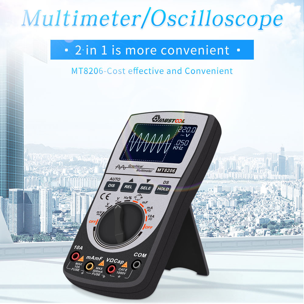 2 in 1 Upgraded MUSTOOL MT8206 Intelligent  Digital Oscilloscope Multimeter with Analog Bar Graph 200k High-speed A/D Sampling